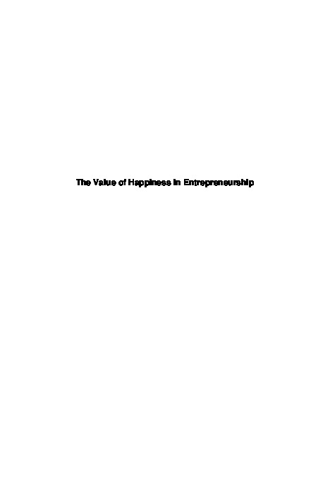 The Value of Happiness in Entrepreneurship